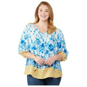 Status by Chenault plus size Peasant Top - NWT